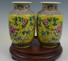 Pr Chinese Famille Rose Yellow Ground Vases