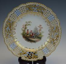 Meissen Cabinet plate with reticulated border