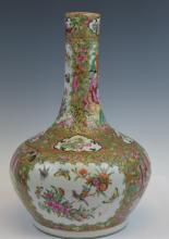 Chinese Rose Medallion Bottle Vase