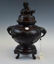 Chinese Bronze Foo Dog CHRISTIES Incense Burner