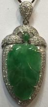 Chinese Natural Jade Leaf 18k Gold Pendant