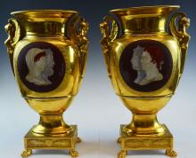 Pair Fantastic First Empire French Porcelain Vase