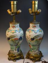 Pair of Chinese Porcelain Lamps on Bronze Base