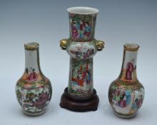 Three Chinese Medallion Rose Porcelain Vases