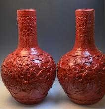 Pair of Chinese Red Glaze Porcelain Vase