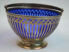 Tiffany Silver Basket with Cobalt Blue Glass