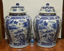 Pair of Large Chinese Blue and White Porcelain Jar