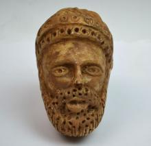 Greek Style Stone Carved Man's Head Figure