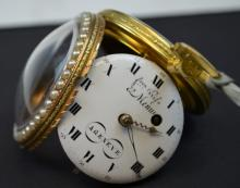 CHRISTIES 18K 18TH C SWISS Enamel Pocket Watch