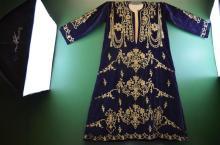 Antique Deep Blue Silk Embriodered Lady Robe