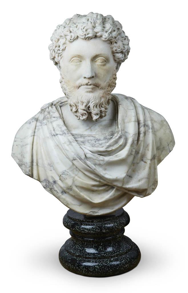 Empereur Lucius Verus Tete en marbre blanc