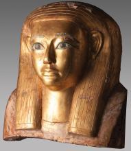 Masque égyptien en bois doré