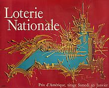 Georges MATHIEU (Boulogne-sur-mer, 1921 - Boulogne-Billancourt, 2012)   Affiche de la Loterie Nationale pour le tirage du Prix d'Amérique