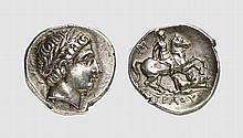 PAEONIA, SILVER TETRADRACHM OF PATRAOS