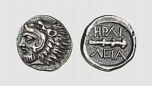BITHYNIA, A QUARTER SIGLOS OF HERAKLEIA PONTIKA, ca. 394-352 BC, 1.251g, 3h. SNG Lockett 2678 (this coin). Old cabinet tone. Perfectly centered and struck. Possibly the finest known. Choice extremely fine. Tradart November 1993 lot 88; former Richard