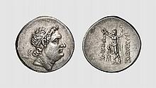 BITHYNIA, A SILVER TETRADRACHM OF PRUSIAS II, ca. 183-149 BC, 16.859g, 12h. Cf. SNG von Aulock 6882. Attractively toned with underlying luster. Perfectly centered and struck. Exceptional realistic late portrait. Among the finest known. Superb