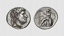 MYSIA, A SILVER TETRADRACHM OF EUMENES I, Pergamon, ca. 263-241 BC, 17.031g, 1h. SNG von Aulock 1356. Old cabinet tone. Perfectly centered and struck. Spectacular Hellenistic portrait. Choice extremely fine. Acquired privately from Tradart; Victor