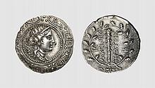 MACEDON. A SILVER TETRADRACHM OF THE FIRST MERIS, Amphipolis, ca. 167-149 BC, 16.917g, 12h. BMFA 731. Attractively toned. Struck on an exceptionally broad flan. Extremely fine. Tradart November 1993 lot 69; Monnaies & Médailles 1975 (52) lot 134