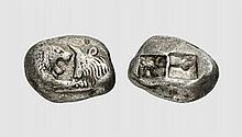 LYDIA, A SILVER DOUBLE SIGLOS OF KROISOS, Sardes, ca. 550-546 BC, 10.561g. SNG von Aulock 2874. Attractively toned. Good very fine. Gorny & Mosch 2012 (204) lot 1549