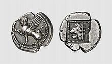 THRACE, A SILVER HEMIDRACHM OF SAMOTHRACE, ca. 480 BC, 2.303g, 6h. SNG Berry 505. Rare. Old cabinet tone. Perfectly centered and struck. Attractive and interesting obverse type. Usual weakness on reverse, otherwise, extremely fine. Acquired privately