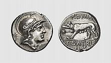 A SILVER DENARIUS OF P. SATRIENUS, Rome, ca. 77 BC, 3.778g, 6h. Crawford 388/1b. Old cabinet tone. Extremely fine. Acquired privately from Tradart The reverse type would appear to be a representation of the she-wolf of the Capitol, used here as an