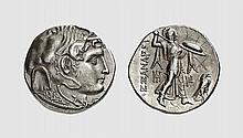 EGYPT, A SILVER TETRADRACHM OF PTOLEMY I, Alexandreia, ca. 310-305 BC, 15.646g, 12h. Svoronos 161. Old cabinet tone. Graffiti in reverse field, otherwise, choice extremely fine. Acquired privately from Tradart