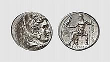 SYRIA, A SILVER TETRADRACHM OF SELEUKOS I, in the name of Alexander III, Babylon (I), ca. 311-310 BC, 17.069g, 5h. SC 82.5B. Old cabinet tone. Struck in high relief from artistic dies. Choice extremely fine. Acquired privately from Tradart