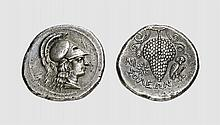 CILICIA, A SILVER STATER OF SOLOI, ca. 340 BC, 8.375g, 7h. SNG BN 182. Old cabinet tone. Perfectly centered and struck on a broad flan. Possibly the finest known. Extremely fine. Tradart November 1993 lot 129; former Virgil Michael Brand (1861-1926)