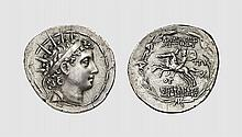 SYRIA, A SILVER TETRADRACHM OF ANTIOCHOS VI, Antioch, ca. 143-142 BC, 16.744g, 1h. SC 2000.3D. Attractively toned. Perfectly centered and struck on a broad flan. Fine style. Choice extremely fine. Acquired privately from Tradart; Victor Gadoury