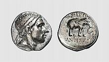 SYRIA, A SILVER DRACHM OF ANTIOCHOS III, Apamea on the Orontes (?), ca. 204-200 BC, 3.917g. SC 1066. Old cabinet tone. High relief portrait. Interesting reverse type. Good very fine. Acquired privately from Tradart
