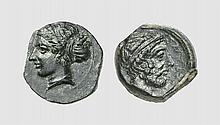 SICILY, A BRONZE LITRA OF ENTELLA, ca. 420-404 BC, 3.264g, 9h. Strauss 46 (this coin). Rare. Untouched dark green patina. Exceptional for issue. Extremely fine. Acquired privately from Tradart; former Maurice Laffaille (1902-1989) collection,