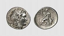 THRACE, A SILVER TETRADRACHM OF LYSIMACHOS, Lampsakos, ca. 297-282 BC, 17.036g, 12h. Müller 401. Old cabinet tone. Perfectly centered and struck in high relief. With a magnificent, elegant portrait of the finest style. Choice extremely fine. Acquired