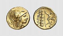 MACEDON, A GOLD QUARTER STATER OF ALEXANDER III, Amphipolis, ca. 330-320 BC, 2.143g, 12h. Price 169c. Rare. Perfectly centered and struck. Extremely fine. Acquired privately from Tradart; Bank Leu 1989 (45) lot 161; Hess-Leu 1963 (22) lot 51; former
