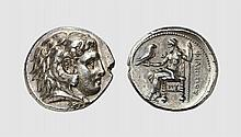 MACEDON, A SILVER TETRADRACHM OF PHILIP III, Side, ca. 323-317 BC, 17.014g, 12h. Price P125a. Old cabinet tone. Perfectly centered and struck. None on CoinArchives. Virtually as struck and almost Fdc. Acquired privately from Tradart