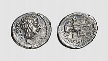 A SILVER QUINARIUS OF M. CATO, Rome, ca. 89 BC, 1.917g, 8h. Crawford 343/2b. Rare control mark. Light cleaning scratches under tone. Very fine. Former Claude collection, Triton 2005 (8) lot 848