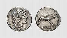 A SILVER DENARIUS OF M. VOLTEIUS M.F., Rome, ca. 78 BC, 3.963g, 4h. Crawford 385/2. Attractively toned. Choice extremely fine. Tradart December 1998 lot 133