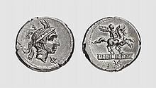 A SILVER DENARIUS OF L. PHILIPPUS, Rome, ca. 113-112 BC, 3.889g, 7h. Crawford 293/1. Old cabinet tone. Good extremely fine. Acquired privately from Tradart