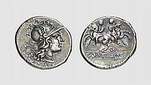A SILVER DENARIUS OF C. SERVILIUS M.F., Rome, ca. 136 BC, 3.882g, 6h. Crawford 239/1. Old cabinet tone. Extremely fine. Acquired privately from Tradart