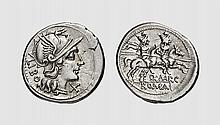 A SILVER DENARIUS OF Q. MARCIUS LIBO, Rome, ca. 148 BC, 3.610g, 4h. Crawford 215/1. Lightly toned. Exceptional broad flan. Extremely fine. Acquired privately from Tradart
