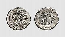 AN ANONYMOUS SILVER VICTORIATUS, Luceria, ca. 211-208 BC, 3.028g, 8h. Crawford 97/1a. Rare. Attractively toned. Perfectly centered and struck. Choice extremely fine. Tradart December 1991 lot 225