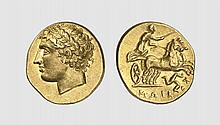 SICILY, A GOLD DEKADRACHM OF AGATHOKLES, Syracuse, ca. 317-310 BC, 4.253g, 2h. SNG ANS 549. Nicely toned with underlying luster. A superb coin of splendid early Hellenistic style. Choice extremely fine. Acquired privately from Tradart; Bank Leu 1987