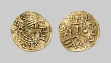 EARLY MEDIEVAL COINS,  MEROVINGIANS,  Unique gold Tremissis (ca. 539-584 AD) from Chilperic I (?) (unidentified mint) (Gold,