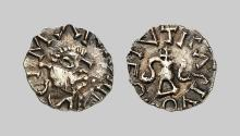 EARLY MEDIEVAL COINS,  MEROVINGIANS,  Unique gold Tremissis from Gevaudan (ca. 650-700 AD) (Abbey St. Martin of La Canourgue) (Gold,