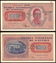 WORLD,  KATANGA,  Specimen 50 Francs ND (1960). Moise Tshombe at right Rev. Building at left. Pick 7s. about Uncirculated.