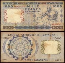 WORLD,  KATANGA,  1000 Francs 26.2.1962. Woman carrying child on back while picking cotton at right Rev. Wheel of masks and spears. Pick 14a. Very Fine.