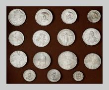 WORLD,  PORTUGAL,  Diplomatic gift set of 15 commemorative silver coins (1953-1977). Uncirculated. Unreported set. Diplomatic gift offered to a belgian senator.
