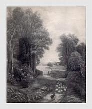 Van Cutsem H. Le retour à l'étable. Fusain sur papier. 38 x 32 cm. Signé et daté 1911 en bas à droite.