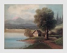 Maison au bord de l'eau. Huile sur toile. 40 x 50 cm