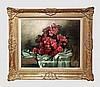 Storie José (1899-1961). Le vase renversé. Huile sur toile. 74 x 60 cm. Signé en bas à gauche. Ancienne étiquette et cachet au dos.