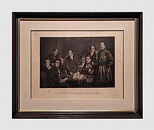 Lot de 4 gravures comprenant : Le gouvernement provisoire de Belgique 1830. Gravure d'après le tableau de Charles Picqué de 1830. 36 X 48 cm (à vue). SCHUBERT Joseph (1816-1885). Alexandre Rodenbach. Gravure. 19 X 14. Baugniet Charles (1814-1886).